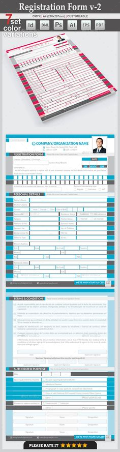 Registration Form Registration form, Adobe indesign and Font logo - new customer registration form template