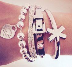 Silver Bracelets Tiffany & Company Diamond Twisted Buckle X Stackable Set