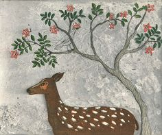 (Do You Hear the Nightingale Sing?) by Kirsi Neuvonen, 2010 Female Painters, Bambi, Printmaking, Folk Art, Designer, Art Drawings, Paradise, Illustration Art, Dreams