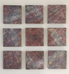 Untitled, Cecilia Goldberger. Wax, pigment stick, charcoal transfer on encaustic board, 9 panels each 8x8, installed.