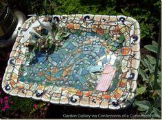 mosaic birdbath...started out as a ceramic platter!