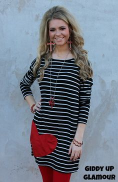 All My Love Stripe Tunic with Suede Red Heart in Black