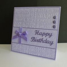 Congratulations to Maria, the featured stamper today. A pretty and colourful gallery new to me! I chose this cheerful card to case http://www.splitcoaststampers.com/gallery/photo/2632476?&cat=500&ppuser=289516 Changes: I embossed my background, added a different sentiment and used ribbon on my panel. Enjoy your special week Maria x