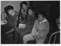 Children at Sunday school class, Manzanar Relocation Center, California. 1943 photograph by Ansel Adams.