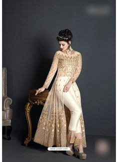 Buy Off White Net Embroidered Floor Length Suit Indian Fashion Dresses, Party Wear Indian Dresses, Indian Wedding Gowns, Frock Fashion, Indian Gowns Dresses, Indian Outfits, Pakistani Frocks, Pakistani Dress Design, Pakistani Dresses
