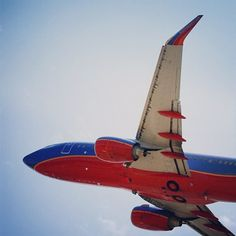 Southwest airline climbing into the Texas sky