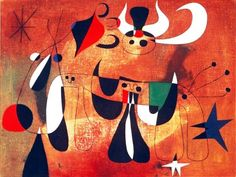 """Joan Miró- """"Personajes en la noche"""", 1950. óleo sobre tela. Colección privada, New York (USA)  Página Facebook: """"Arte moderna"""""""
