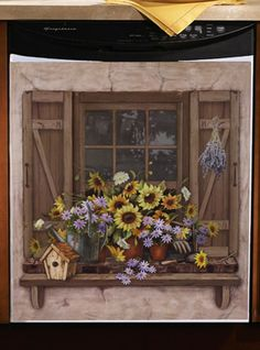 Contemporary Kitchenaid Dishwashers Lowes Fall Sunflowers Window Scene Dishwasher Cover 1499 And Design Inspiration
