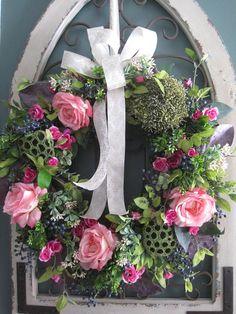 Four Season Wreath Large Front Door Wreath Premium Silk Flower Centerpieces, Flower Arrangements, Floral Arrangement, Diy Wreath, Grapevine Wreath, Spring Front Door Wreaths, Spring Wreaths, Country Wreaths, Wedding Wreaths
