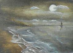 Night sailing  Original Oil Painting 7 x5
