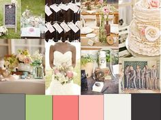 Love this. Men in grey and white. Me in white. Flowers in light coral pink, blush and white. Could have green bottles on tables for vases.... Bridesmaids in blush.