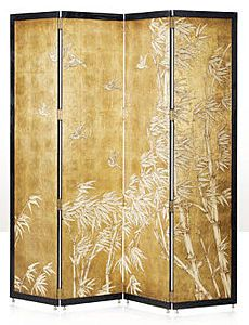 A black lacquer framed gilt Argento screen, with raised painting of birds flying over a bamboo forest. The original Art Deco.  W 209.55 x D 2.54 x H 224.79
