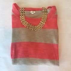 J Crew pink & tan striped top 3/4 length sleeve bright pink & tan striped light weight cotton sweater. EUC J.Crew Factory Tops