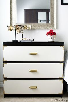 Spray paint and brass corners will help you create a dresser and nightstand combo that has plenty of storage…   17 Ways To Make Your Ikea Furniture Look Less Basic
