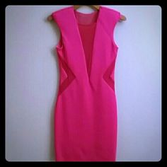 VavavaVoom Hot Pink Bebe Dress Hot pink and mesh scuba mini skirt. Only worn a few times and in good condition. bebe Dresses Mini