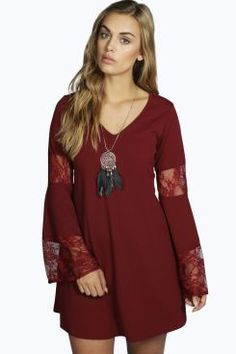 Plus Willow Lace Panelled Flute Sleeve Dress