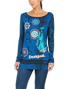 Desigual Bella - T-shirt - Imprimé - Col bateau - Manches longues - Femme - Bleu (Navy) - FR: 36 (Taille fabricant: XS) Desigual http://www.amazon.fr/dp/B00VMAWZC8/ref=cm_sw_r_pi_dp_2LU7vb08AVQQJ