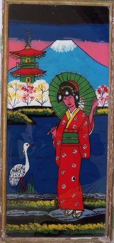 quadro  pintura em vidro oriental antigo gueixa
