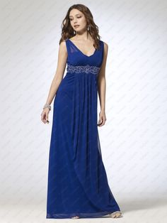 Sheer Jersey Gown with Beaded Belt - Vuhera.com Blue Evening Dresses, Formal Dresses, Bridesmaid Dresses, Wedding Dresses, Prom, Gowns, Pretty, Belt, Women