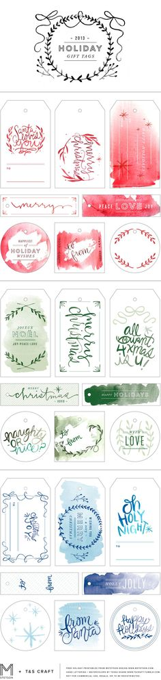 free watercolor holiday christmas gift tag printables downloadable via mstetson design and t&s craft red green blue