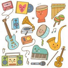 Doodle Art, Doodle Icon, Kawaii Doodles, Cute Kawaii Drawings, Music For Kids, Art For Kids, Japanese Poster Design, Music Artwork, Music Wall