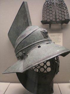 British Museum - Bronze gladiator's helmet  Roman 1st century ad believed to be from Pompeii, Campania, Italy