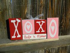 Valentine's wood blocks--XoXo Hugs 'n Kisses wood painted blocks
