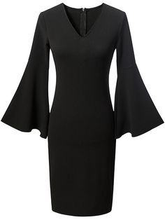 Online shopping for Black V Neck Zipper Back Bell Sleeve Dress from a great selection of women's fashion clothing & more at MakeMeChic.COM.