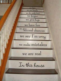 """In this house"" stair risers"