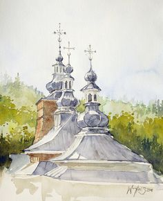 watercolor, church southern Poland. Autor Woytek Smółkowski
