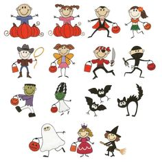 Halloween Stick Figures Machine Embroidery Designs | Designs by JuJu