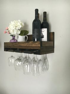 Wine Rack Shelf, Bar Shelves, Wood Wine Racks, Wine Rack Wall, Wall Mounted Shelves, Wooden Shelves, Kitchen Shelves, Glass Shelves, Spice Containers