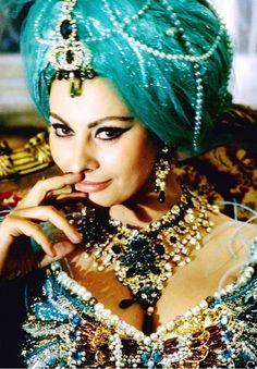 Sophia Loren in a jeweled turban