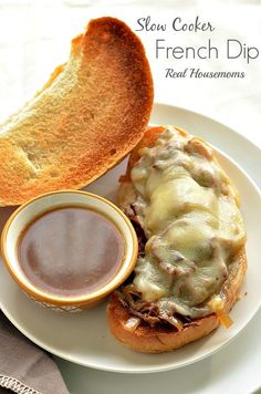 Slow Cooker French Dip is perfect for the entire family! Hot buns filled with moist beef and melted cheese is always a big hit!