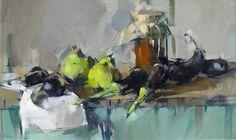 Maggie Siner, 'Pears & Eggplant', 16 x 26, Oil on Linen