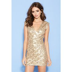 Forever 21 Forever 21 Women's  Sequined Geo Pattern Dress featuring polyvore, fashion, clothing, dresses, gold, full length sequin dress, evening cocktail dresses, plunge dress, forever 21 dresses and forever 21