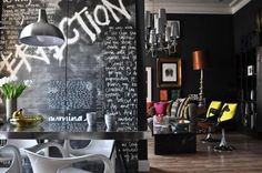 Black wall with colorful accessories