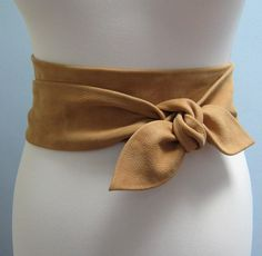 Tan nubuck soft leather petal wrap belt - Last One