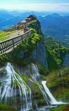Image may contain: mountain, sky, outdoor, nature and water Visit Austria, Austria Travel, Beautiful Waterfalls, Beautiful Landscapes, Dream Vacations, Vacation Spots, Places To Travel, Places To See, The Places Youll Go
