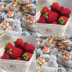 Idag har vi sockrade smörbullar med svenska jordgubbar från Torslanda torg#torslanda #egenföretagare #sockermajas #bakery #bullar #svenskajordgubbar #äktasmör #välkomna #gofika