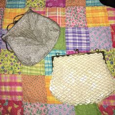 Antique beaded purse bundle Two small antique coin purses. One silver with silver beads & the other is ivory iridescent sequins with Ivory beads. Bags Clutches & Wristlets