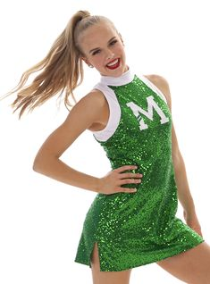 Shirelle Zsa Zsa Cheer Dress. Fitted dress in sparkly Zsa Zsa fabric! Leotard attached, hemline has vents for movement. Customize in your logo and school colors! #cheer #cheerleader #cheerdress #cheeruniform #sparkle #cheersquad