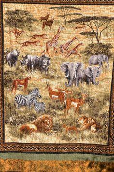 African Safari Quilt by tennantstreasures on Etsy, $100.00