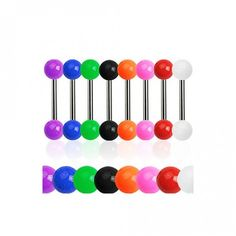 Acrylic Ball Ends on Grade 23 Solid Titanium Post Tongue Ring Barbell Body Jewellery, Jewelry, Ultra Classic, Tongue Rings, Body Piercing, Barbell, Purple, Tattoos, Color