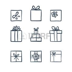 line drawing: Hand drawn icons gifts with bows in cartoon style. Doodle gift box icon set with different bows. Doodle gift box icon isolated on white background. Thin line doodle icon set. Present Drawing, Gift Drawing, Doodle Drawings, Doodle Art, Easy Drawings, Christmas Doodles, Christmas Drawing, Box Icon, Icon Set
