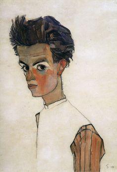 Self portrait with stripped shirt - Egon Schiele, 1910