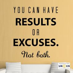 Results Excuses Gym Exercise Fitness Quote Wall Art Stickers Decals Vinyl Home[Medium,Black]