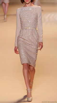 Blush pink evening dress with long sleeves and sequined body