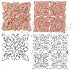 Hooked on crochet: motifs Crochet Square Patterns, Crochet Diagram, Crochet Stitches Patterns, Crochet Chart, Crochet Squares, Crochet Motif, Crochet Designs, Granny Squares, Crochet Doilies