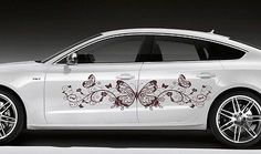 CAR VINYL STICKER GRAPHICS FLORAL PATTERN WITH BUTTERFLY A1270